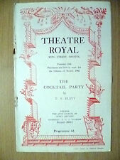 Theatre Royal Programme 1951- THE COCKTAIL PARTY by T S Eliot