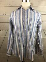 Thomas Pink Blue Striped Cotton Blend Long Sleeve Men's Dress Shirt Size 16.5