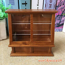 Dollhouse Miniature Wooden Brown Cake Showcase Display Cabinet 1:12 Scale Model