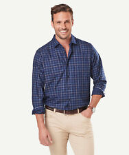 GAZMAN Men's Easy Care Twill Check Shirt Navy