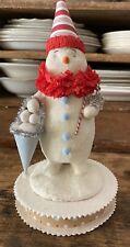 Nicol Sayre Folk Art Paper Mache Red Blue Christmas 9� Clown Snowman Snowballs