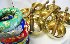 "F257 Set Of  All 7 Chakra Healing Hamd Hammered Tibetan Singing Bowl 5"" MI Nepal"