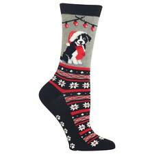 Christmas Border Collie Non Skid Socks Casual Crew Women's Size 9-11 Dogs