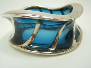 Sean Hill Blue clear Resin and Sterling Silver Big Bangle Bracelet M/S Size VGUC