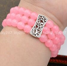 Natural 3 rows 8mm Pink jade Beads Stretch Tibetan silver Gems Bracelet 7.5''