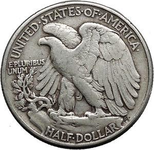 1945 WALKING LIBERTY Half Dollar Bald Eagle United States Silver Coin i44632