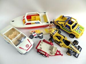 Bundle Vehicles PLAYMOBIL Vintage Car Ambulance Boat Valvoline Pick Up F1