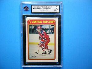 1990/91 O-PEE-CHEE NHL HOCKEY CARD #19R SERGEI FEDOROV ROOKIE KSA 9 MINT OPC