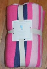 Pottery Barn Kids Bright Stripe Blanket Full Queen Pink Navy Blue #118