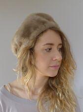 Vintage retro true 1940s taupe faux fur winter hat beret