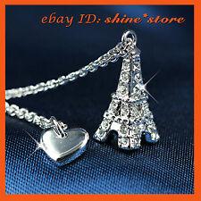 9K GOLD GF P70 PARIS EIFFEL TOWER LOVE HEART LADY SOLID DIAMOND NECKLACE PENDANT