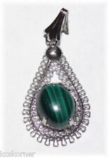 "Pendant Malachite Silver Plated Lacy 1"" Hand Crafted Artisan"