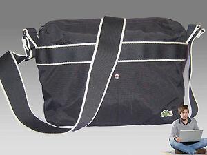 New Vintage LACOSTE Unisex Horizontal Reporter Shoulder Bag NC Casual 5 Black