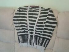 Boys 11-12 Years - Grey/Navy Striped Cotton Knit Cardigan - Jasper Conran