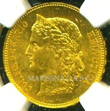 SWITZERLAND 1890 B GOLD COIN 20 FRANCS * NGC CERTIFIED GENUINE MS 60 * BRILLIANT