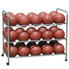 Ball Cart for Basketball/Volleyball Double Wide ball rack holds 30 balls storage