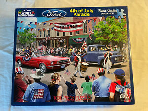 White Mountain 1000 Pc Jig Saw Puzzle 4th Of July Parade Ford Cars  # 1528