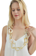 WHITE SHADE LONG CHAIN BUFFALO HORN NECKLACE  BIG CHAINMAILLE NECKLACE HANDMADE