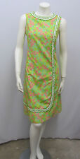 """VINTAGE THE LILLY PULITZER DRESS SIGNED """"LILLY"""" GREEN WHITE CROCHET TRIM 8 SMALL"""