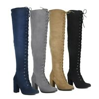 NEW Women Lace Up Zipper Over The Knee Thigh High Chunky Heel Boots Size 5.5 -10