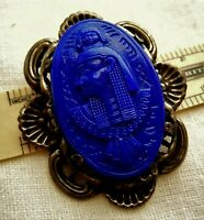 "Art Deco Neiger Egyptian Pharaoh Molded  Lapis Czech Glass 2"" Pin, Estate Lot"