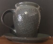 "222 Fifth CRAFT Stoneware Pitcher & Plate Weave Texture 7"" x 9"" / 9.25"" Plate"