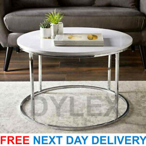 High Gloss Round Coffee Tables Set Sofa Side Nested End Tables Living Room Home