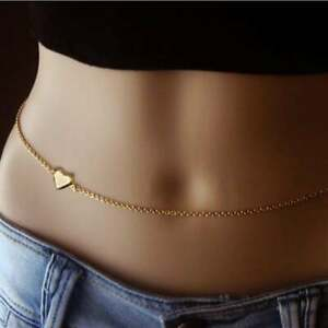 Heart Belly Waist Chain-Belly Dancing Gift -Girlfriend Gift 14K Yellow Gold Over