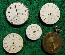 5 Antique Pocket Watch Movements - Elgin & Swiss