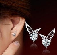 Fashion Women Silver Jewelry Angel Wings Crystal Ear Stud Earrings 1 pair