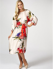 Ghost London Viola 3/4 Sleeve Floral Midi Dress Pink Multi XL