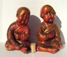 RARE Antique Vintage ESTHER HUNT STYLE Chalkware Statues ASIAN BOY & GIRL