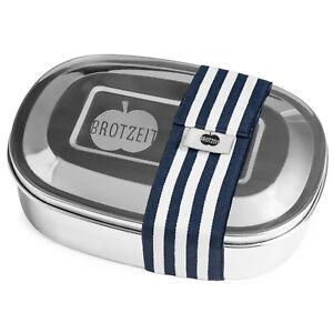 Brotzeit to go MAGIC Brotdose Pure & Green Edelstahl Unterteilung BPA frei Blau