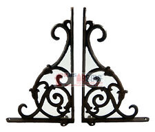 2 Ornate Rustic Cast Iron Brackets Braces with Scrolls Doorway Accent 9.25 x 6""