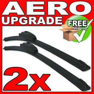 """22""""/16"""" Front Aero VU Flat Wiper Blades Windscreen Window Jointless Beam Upgrade"""