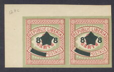 Liberia 1913, 8c overprint on 3c inland Postage, IMPERFORATE PAIR NH #128