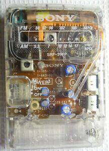 Sony SRF-39FP Clear Prison AM/FM Radio with box manual & unused ear buds