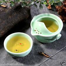 Carp celadon teapot Quik Cup Office travel fast pot of tea cups painted lotus