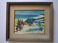 LABO? SIGNED MODERNISM PAINTING IMPRESSIONISM COASTAL 1960'S BEACH SCENE VINTAGE