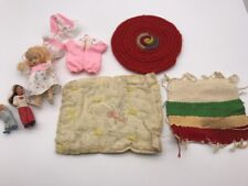 "Lot of Vtg Sleepy Eye Storybook Doll with Clothes Blanket Quilt Rugs 2"" 4-1/2"""