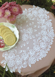 """SET OF 2 Heritage Lace White TEA ROSE 14""""x24"""" Doilies - Made in USA!"""