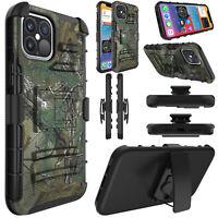 For iPhone 12 Pro Max/12 mini/12 Pro Case Hybrid Kickstand Belt Clip Phone Cover