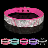 Bling Rhinestone Diamante Dog Collar Soft Suede Pet Puppy Pink Blue Black Purple