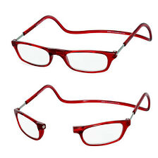 +1.00 RED Magnetic Reading Glasses Click Close Circular Loop Snap Neck Hang +1