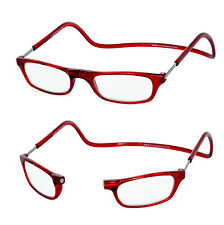 +3.00 Magnetic Reading Glasses Click Loop Red Snap Front Close Neck Hanging  +3