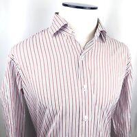 Peter Millar Mens Button Down Dress Shirt, 100% Cotton Striped, Size Large