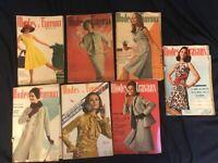 7 VINATGE MODES TRAVAUX 1960'S FRENCH SEWING MAGAZINE W/ PATTERN INSERT FASHION