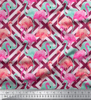 Soimoi 44 Inches Wide Pure Silk Fabric Flamingo Print Craft Material By The Yard