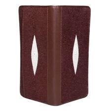 Genuine Stingray Skin Leather Unisex Bifold Clutch Long Wallet Purse 2P2M Brown