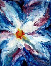"Akimova: BLUE FLOWER ABSTRACT, abstract, wax painting, 12""x9"""
